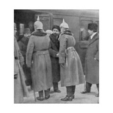 Leon Trotsky Arriving for Peace Negotiations with the Germans, Brest-Litovsk, 7 January 1918 Giclee Print