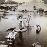 Women Crossing the Lake on Stepping Stones, Suizen-Ji Garden, Kumamoto, Japan, 1904 Photographic Print by  Underwood & Underwood