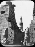 Minaret and Ruins of Luxor Temple, Luxor, Egypt, C1890. Lantern Slide Photographic Print