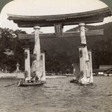 Sacred Torii Gate Rising from the Sea, Itsukushima Shrine, Miyajima Island, Japan, 1904 Photographic Print by  Underwood & Underwood
