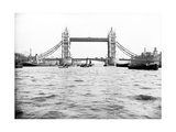 Tower Bridge with Bascules Closed and Barges Passing under at High Water, London, C1905 Photographic Print