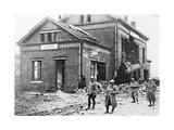 Damaged Railway Station at Roye, France, First World War, 1918 Giclee Print