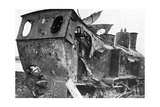Smashed Locomotive at Peronne, France, First World War, 1917 Giclee Print