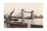 View of Tower Bridge under Construction with River Traffic in the Foreground, London, C1893 Photographic Print