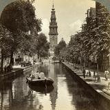 Canal, Amsterdam, Netherlands Fotografisk tryk af Underwood & Underwood