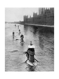 French Submarine 'Saphir' (Q4) and Five Others Moving from Gravesend to London, July 1909 Giclee Print