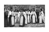Monks of the Greek Church Carrying Volumes of the Liturgy, Greece, 1922 Giclee Print