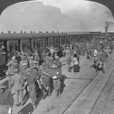 Soldiers of the Wiltshire Rifles Boarding a Train, Cape Town, South Africa, World War I, C1915 Photographic Print