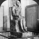 Diorite Statue of King Khafre, Builder of the Second Pyramid of Gizeh, Cairo, Egypt, 1905 Photographic Print