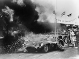 Aston Martin DBR1 on Fire, Goodwood, Sussex, 1959 Papier Photo
