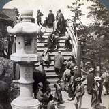 Worshippers Crossing the Semi-Circular Bridge to Kameido Temple Beyond, Looking North, Tokyo, Japan Photographic Print