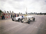 A 1914 and 1937 Grand Prix Mercedes Racing Cars at the Starting Line Photographic Print