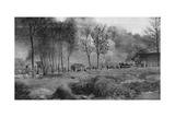 A Farm on Fire from German Incendiary Bombs, Artois, France, World War I, 1915 Giclee Print