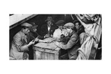 A Bargee and His Mates Play Dominoes in the Hold of a Canal Boat, 1926-1927 Giclee Print