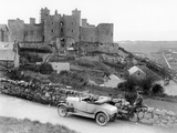 A Singer Car in Front of Harlech Castle, Wales, Early 1920S Photographic Print