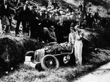Goldie Gardner by the Wreckage of an Mg J4, 1932 Photographic Print