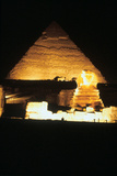 Pyramid of Khafre and the Great Sphinx at Night, Gizeh, Egypt Photographic Print