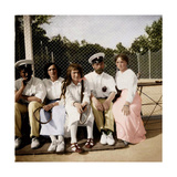 Tsar Nicholas II of Russia with His Daughters on the Tennis Court, Early 20th Century Gicléetryck