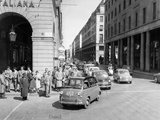 Fiat 600 Multipla Leading a Procession of Fiats, Italy, (Late 1950S) Photographic Print