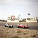 Two Racing Cars Taking a Bend, Dutch Grand Prix, Zandvoort, Holland, 1959 Photographic Print
