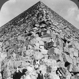 Looking Up the Northeast Corner of the Great Pyramid, Egypt, 1905 Photographic Print by  Underwood & Underwood