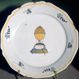 A French Faience Plate Depicting Jean-Pierre Blanchard's Balloon Trip Photographic Print