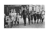 Policeman Helping Schoolchildren across the Road, East End, London, 1926-1927 Giclee Print