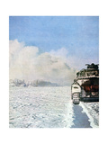 German Tank Fighting in the Snow, Russia, January 1943 Giclee Print