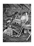 Araucanian Woman Weaving, Chile, 1922 Impression giclée