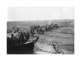 British Troops Unloading Dates on the Shore of the Tigris River, 1918 Giclee Print