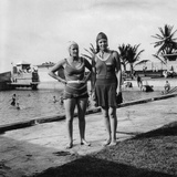 Two Women in Swimsuits Beside a Swimming Pool, Balboa, Panama, 1931 Photographic Print