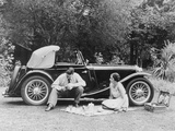 Couple Having a Picnic by an Mg Ta Midget, Late 1930S Photographic Print