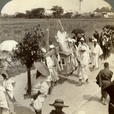 Funeral Procession of a Rich Buddhist, on the Road to Sakai, Looking Towards Osaka, Japan, 1904 Photographic Print