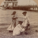 Playing on the Beach' C1900 Photographic Print