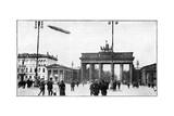 Zeppelin Airship Passing over Brandenburg Gate, Berlin, First World War, 1914 Giclee Print