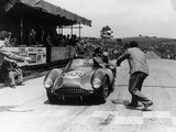 Peter Collins at the Wheel of an Aston Martin Photographie