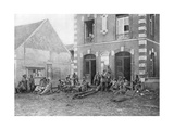 German Troops Sitting on the Steps of the Vareddes Town Hall, France, 1914 Giclee Print