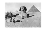 Praying before a Sphinx, Cairo, Egypt, C1920s Giclée-tryk