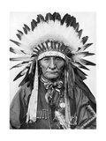 A Native American Chief Wearing His Headdress Giclee Print