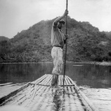 Man on a Raft, Kingston, Jamaica, 1931 Photographic Print