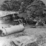 Shattered Remains of a Luckless Howitzer Blown Up by a Direct German Hit, World War I, C1914-C1918 Photographic Print
