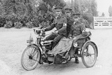 Three Soldiers on a Bicycle and Sidecar, (Wwi) Photographic Print