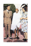 Mohondas Karamchand Gandhi (1869-194), Standing Between Lord and Lady Mountbatten Giclee Print