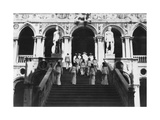 British Sailors Visiting the Doge's Palace, Venice, Italy, 1938 Giclee Print