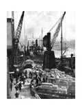 Cargo Being Unloaded at the Docks, Upper Pool, London, 1936 Giclee Print