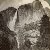 Yosemite Point and Wind-Blown Yosemite Falls, Yosemite Valley, California, USA, 1902 Photographic Print by  Underwood & Underwood