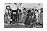 Diver and His Apparatus on Board HMS Blake, 1896 Giclee Print by  Gregory & Co