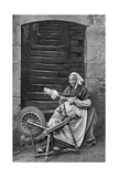 A Woman at a Spinning Wheel, Dinan, Brittany, France, C1922 Giclee Print
