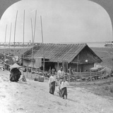 House Built of Bamboo on Rafts, Bhamo, Burma, 1908 Photographic Print