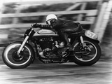 A Norton in Action in the Isle of Man TT, 1950 Photographic Print